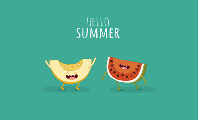 Funny watermelon and melon. Hello summer. Use for card, poster, banner, web design and print on t-shirt. Easy to edit. Vector illustration.