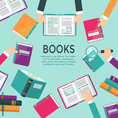 Book readers concept illustration with hands holding books. Template ...