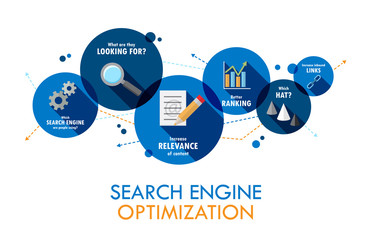 SEARCH ENGINE OPTIMIZATION (SEO) Vector Flat Style Icons
