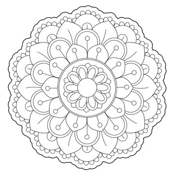 Coloring Floral Round Ornament