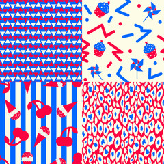 USA Patterns - Collection of 4 patriotic seamless patterns in red, blue and white, 80's styled.