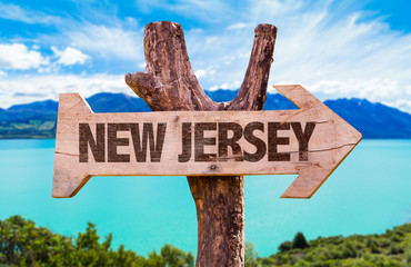 New Jersey wooden sign with landscape background