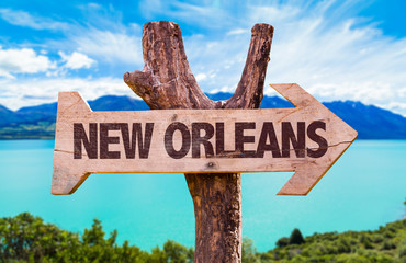 New Orleans wooden sign with landscape background