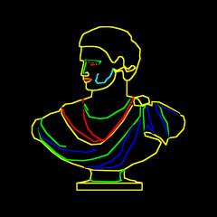 бюст древнего римлянина нарисован цветными линиями на черном фоне