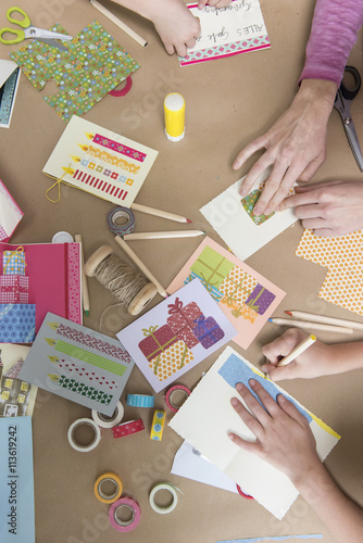Hands making greeting cards stock photo and royalty free images on hands making greeting cards m4hsunfo