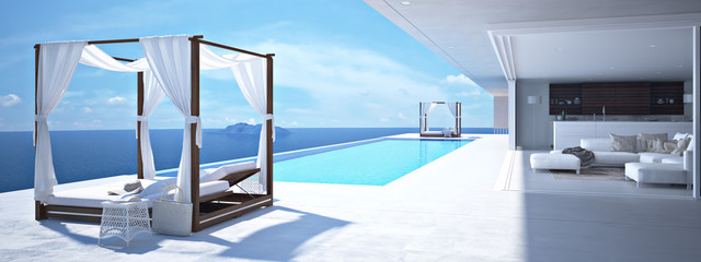 Fotobehang Santorini luxury swimming pool in santorini. 3d rendering