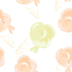 Watercolor ice cream/Funny summer seamless pattern