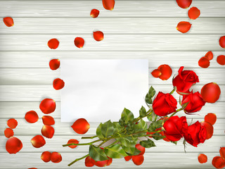Table with rose petals. EPS 10