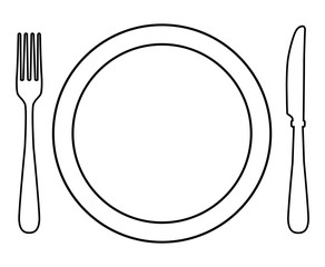 how to draw a knife and fork