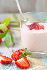 Strawberry yogurt and fresh berries