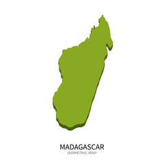 Isometric map of Madagascar detailed vector illustration