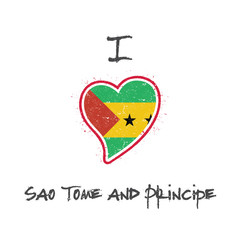 Sao Tomean flag patriotic t-shirt design. Heart shaped national flag Sao Tome and Principe on white background. Vector illustration.