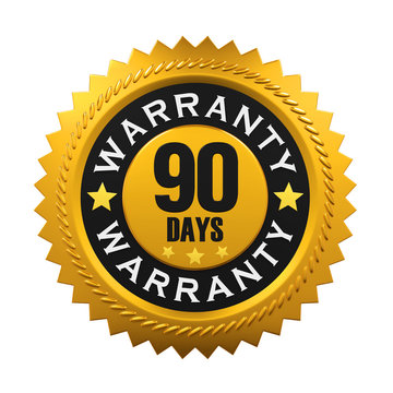90 Days Warranty Sign. 3D rendering