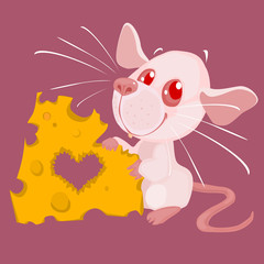 Cartoon White Rat and Cheese