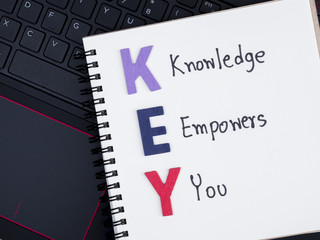 Knowledge empower you on laptop keyboard 1