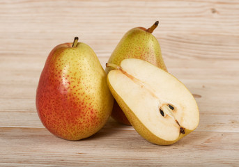 pears on a wooden background