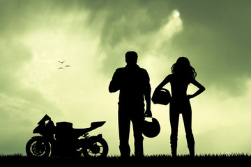Wall Mural - couple of motorcyclist
