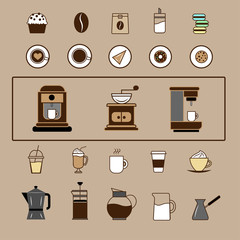 Set of Vector Coffee Elements and Coffee Accessories and Vector Illustration.