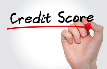 Hand writing Credit Score with marker, Business concept