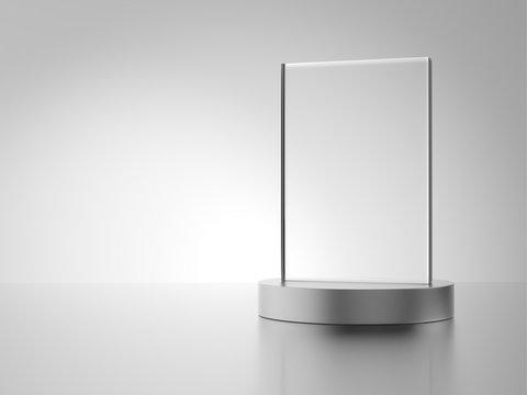 Glass award with metal base