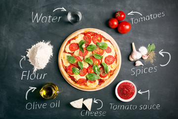 Italian pizza and ingredients