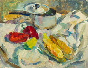 Beautiful Original Oil Painting of  still life  .pan peppers corn on tissue On Canvas in the style of Impressionism