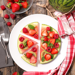 fruit salad with watermelon and berry