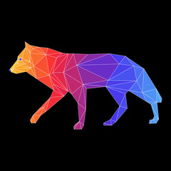 Abstract wolf. Side view.
