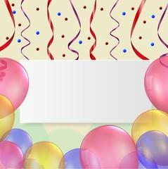 Birthday card with ballon and ribbon
