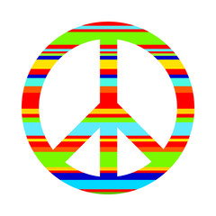 A symbol of peace, Pacific, painted in bright stripes.