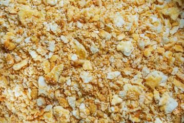 close up of cracker crust : preparation of dessert