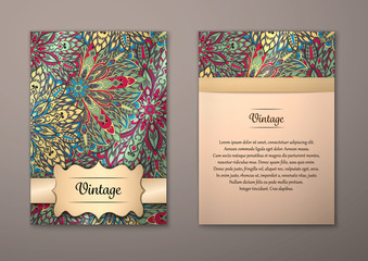 Vintage cards with Floral mandala pattern and ornaments.