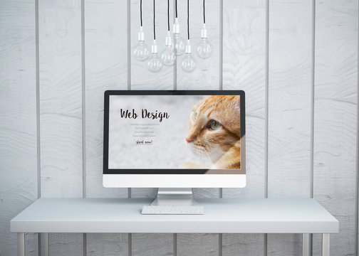 Modern Computer Screen with a Website Sketch