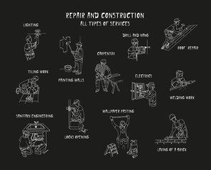 Repair & construction. All types of services. Silhouettes of men at work. Doodle set. Vector. Isolated.