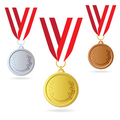 Gold, silver and bronze medals. Medals on ribbon. Vector illustration