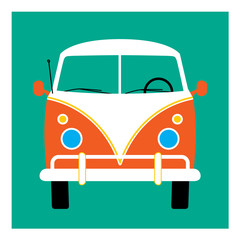 Retro bus. Vector illustration. Surf van. Hippie bus
