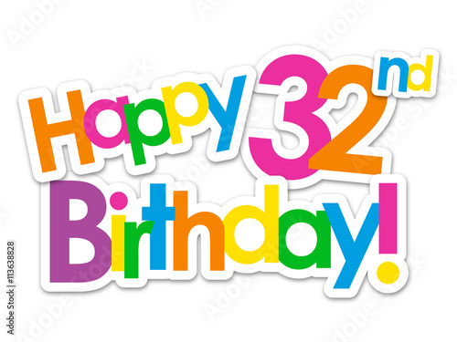 happy 32nd birthday vector card stock image and royalty free vector rh fotolia com birthday card vector free birthday vector art free