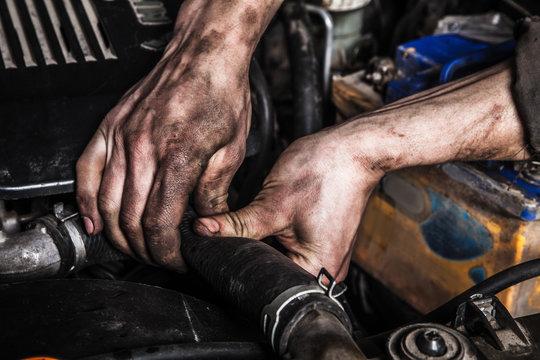 Working man fix engine