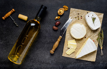 French Cuisine Food with Wine and Cheese
