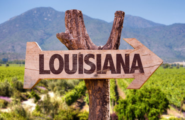 Louisiana wooden sign countryside background