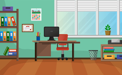 Cozy Office Interior With Wide Window Vector Background