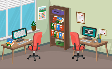 Spacious Office Interior Vector Background