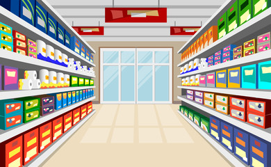Shelves With Goods Vector Background. Supermarket shelves perspective with door at the end of corridor