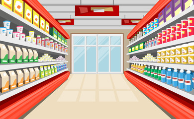 Show-Windows With Foodstuffs Vector Background