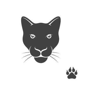 Panther with paw print