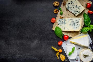 Poster de jardin Produit laitier Danish Blue Cheese and Camembert on Copy Space