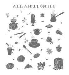 All about coffee. Coffeeshop. Coffee mill, cezve, coffee mashine, instant coffee. Methods making coffee. Desserts for coffee. Flavoring. Doodle set. Isolated