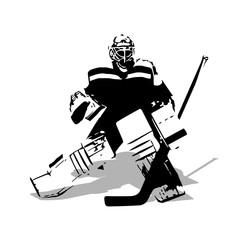 Ice hockey goalie, abstract vector illustration