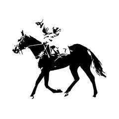 Horse racing, jockey, vector drawing, abstract vector illustrati