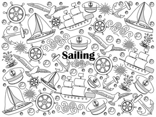 Sailing colorless set vector illustration